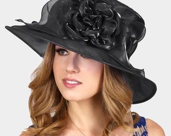 New 2017 Black Flower Wedding Dress Womens Kentucky Derby Brim Church Hat