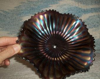 Northwood carnival glass amethyst purple basketweave candy dish