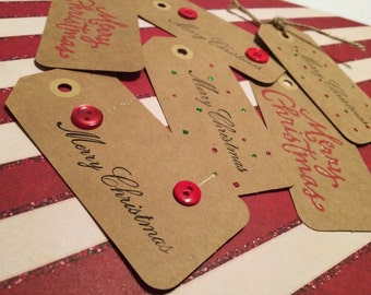 Christmas Glitter Gift Tags Rustic Simple Set of 6 handmade hand stamped with twine ties