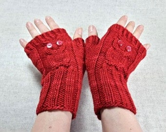 "Fingerless Gloves ""Owls"" red, handknitted Mittens for Women, Wool, Owl Arm Warmers"
