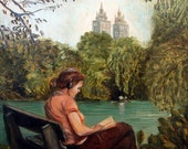 "Original Oil Painting, FREE SHIPPING Worldwide, 6"" x 8,75"", Girl reading in Central Park, New York, home decor, wall decor, housewarming"