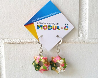 Pink green and gold earrings | Dangle earrings | Floral pattern jewelry | Paper jelwry | Origami by Modul-O