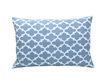 Pillow case FULTON grid Oriental blue white 40 x 60 cm