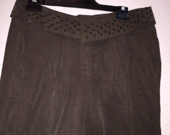 Bettina Liano Suede Dark Brown Pants