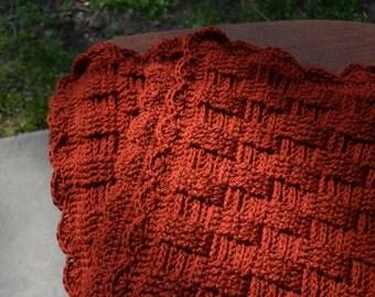 Terra Cotta Baby Blanket in Basket Weave Stitch