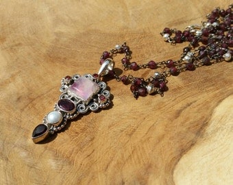 Sterling Silver, Moonstone (enhanced), Pearl, Garnet, Pyrite and CZ Necklace