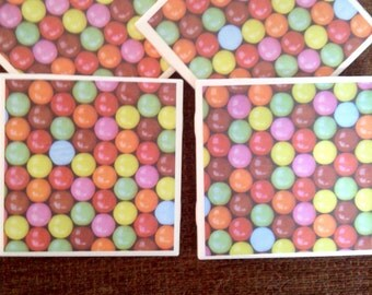 Gumball tile coasters set of 4