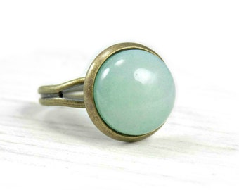 Aventurine Ring, Fashion Jewelry, Green Aventurine Stone Ring, Pastel Ring, Healing Stone Ring, Mint Green Ring Bronze Thumb Rings For Women