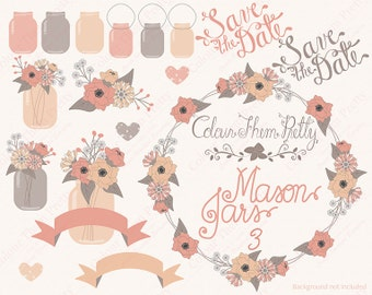 Mason Jars and Flowers 3 Coral {Vectors Clip Arts Illustrator Graphics}