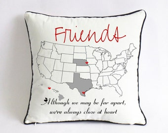 long distance BFF pillow case-graduation gift for best friend-friend birthday gift-although we may be far apart,we're always close at heart