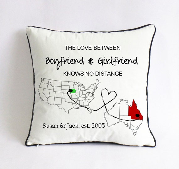 Long Distance Girlfriend Pillow Case-map Outline