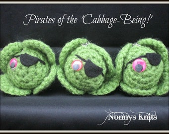 Pirate sprout keyrings or rougue sprouts or pirates of the 'cabbage-being'!