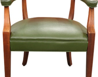 Myrtle Desk Co. Captain Style Side Chair (Olive Leather)
