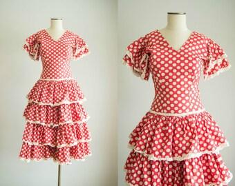 vintage 1940s dress / 40s red polka dot ruffle dress / small /