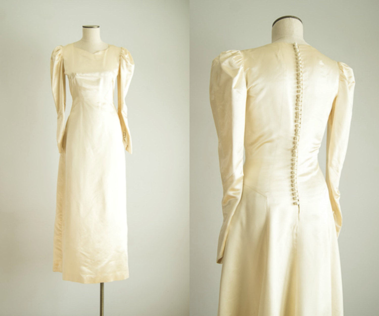 vintage 1940s wedding dress 40s silk satin wedding dress