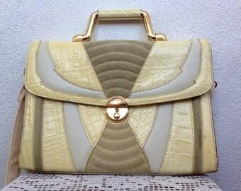 Cream Beige Satchel Purse, Genuine Leather Ladies Briefcase, Structured Handbag, 80s Crossbody Bag, Off White Shoulder Bag, Geometric Purse