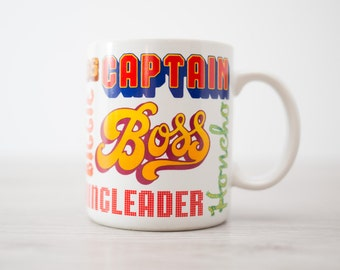 Vintage BOSS Mug with Typeface and Synonyms - Commander, Kingpin, Ring Leader, Brass, Captain, Master, Impresario, MGR., Honcho Supervisor