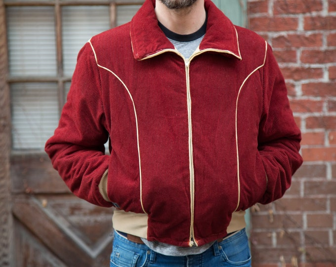 Vintage Men's / Women's / Wine Colored Burgundy Corduroy Jacket with Cream Detailing / Altra Thinsulate Coat by Altra / Boulder, Colorado