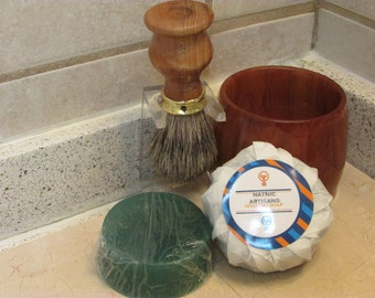 Handmade Shaving Brush and Lather Bowl Combo set in (RED ELM)( Gold Plated Decor brush cup)(including a free sample Shaving Soap Puck)