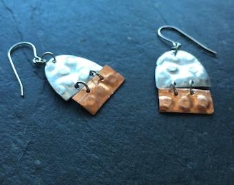 Mixed metal geometric earrings