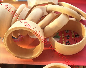 11pcs 81mm assorted original round bangle wood bracelets findings--unfinished