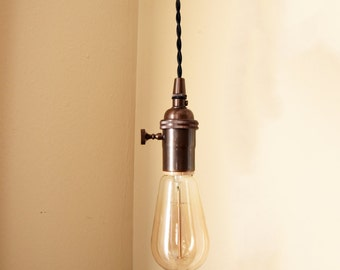Industrial Plug In Pendant Light Copper Bare By