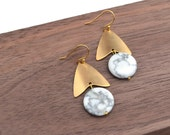 CUSTOM LISTING for amgift /  Alexandria // Gold, Brass, and Howlite Marbled Earrings