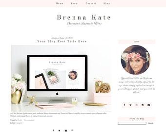 Pink Blogger Template - Feminine Blogger Template - Premade Blogger Template - Mobile Responsive - Brenna Kate