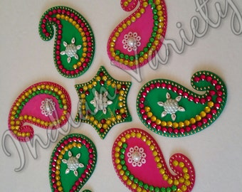 US Seller - Rangoli,Acrylic,Floor Art,Diwali, Festive Rangoli,Pongal,Onam, Wall Art,Rhinestone, Bead,Stones.