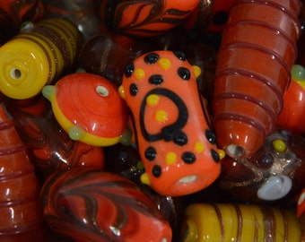 decorative lampwork beads colorful orange lamp work beads unique bumpy beads for jewelry making