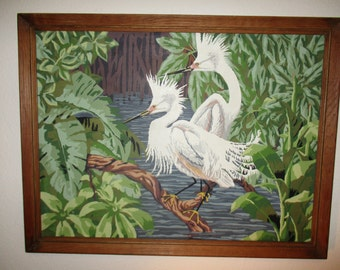 Vintage Paint by Number Snowy Egrets