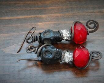 Red Treasure - Dangle, Bohemian,Skull, Artisan