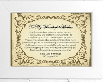 Personalised Mother of the Bride Wedding Thank You Framed Poem