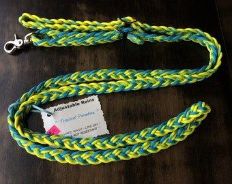 "Adjustable Paracord Reins / Dog Leash - ""Tropical Paradise"" - Turquoise/Yellow - 8.5ft long"