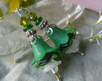 Emerald Forest Flower Earrings