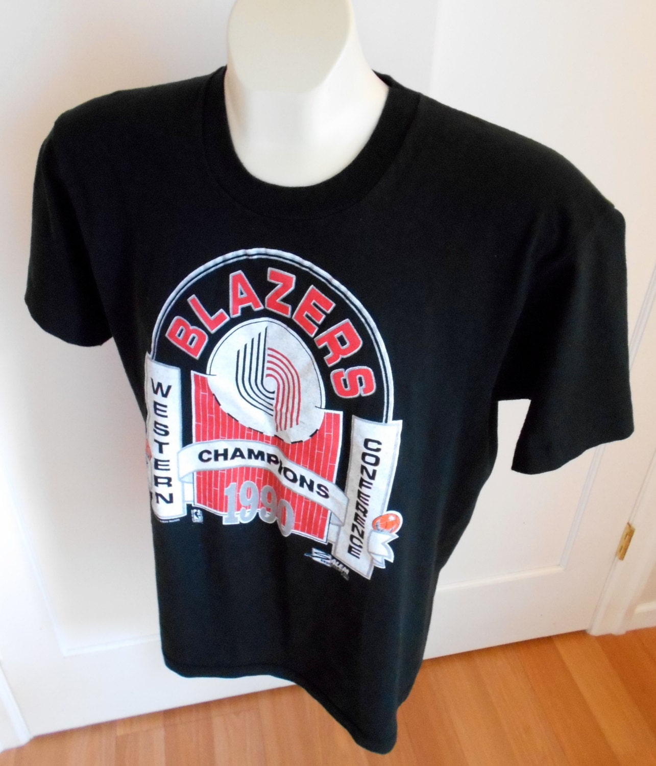 Vintage 1990 Western Conf Champs NBA Portland Trail Blazers T