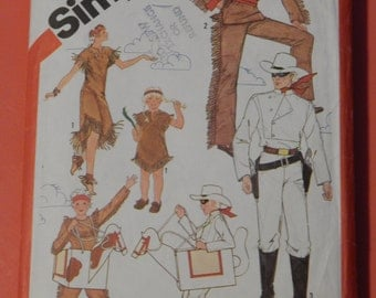 Simplicity 5298 Lone Ranger, Tonto, Silver and Scout costume pattern Soze 10-12 boys and girls