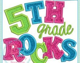 Personalized 5TH Grade Rocks Applique Shirt or Onesie Girl or Boy