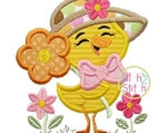 Personalized Easter Spring Chick with Hat and Flower Boy or Girl Applique Shirt or Onesie
