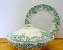 Half Price Sale Art Nouveau tureen and plate,  Boch Prunelle tureen, 1900 serving dish, Art Nouveau dinnerware