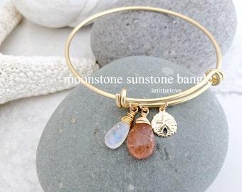 Sunstone Moonstone Bangle,Rainbow Moonstone Jewelry,Sunstone Jewelry,Sunstone Gemstone Bangle,14kt gold filled,Sanddollar Bangle,Bangle