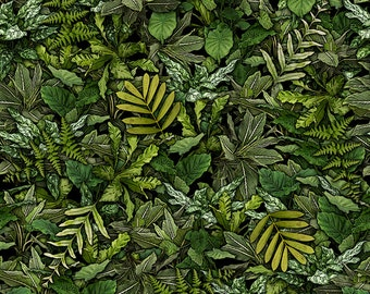 Per Yard, Jurassic Jungle Dinosaur Green Foliage Fabric From Quilting Treasures