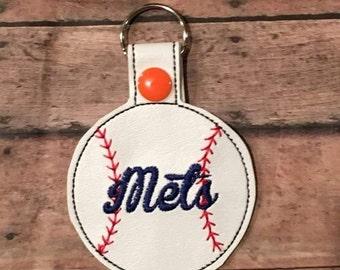 Mets - Baseball - In The Hoop - Snap/Rivet Key Fob - DIGITAL Embroidery Design