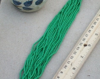 Green seed beads size 11/0 , opaque green beads , Czech beads , Glass seed beads