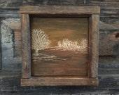 Hand Engraved Wood, Rustic Home Decor, Primitive Wall Art, Fall, Autumn, Minimalist, Mantle Decor, Shelf, Brown Orange, Landscape, Trees