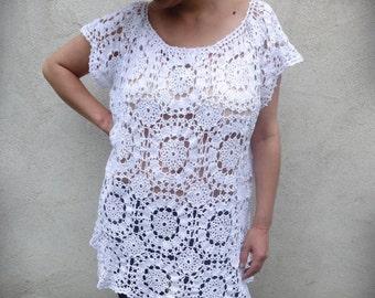 Cochet Tunic, Lace Tunic, White Tunic, Crochet Woman Dress, Romantic Dress, Beach Woman Tunic, Plus Size Dress, Plus Size Tunic, Woman Dress
