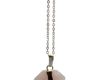 Pink Quartz Necklace - quartz - natural stone - rose quartz jewellery - boho necklace - hippie