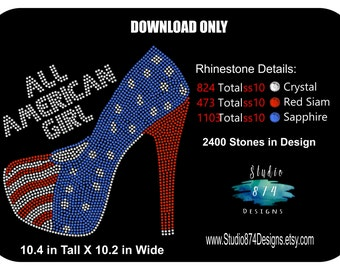Rhinestone Transfer Template Pattern Stencil - All American Girl - Shoes - Patriotic - DOWNLOAD  DIY - Stick Flock