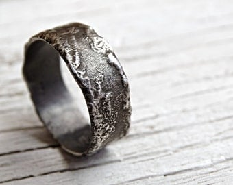 unique silver ring, silver wedding band, unique engagement ring, ring moon surface, reticulated silver ring, rustic wedding ring silver