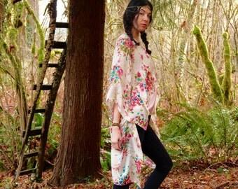 Delicate Floral Silk Kimono Shrug Wrap